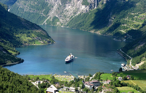 Geirangerfjord with ship