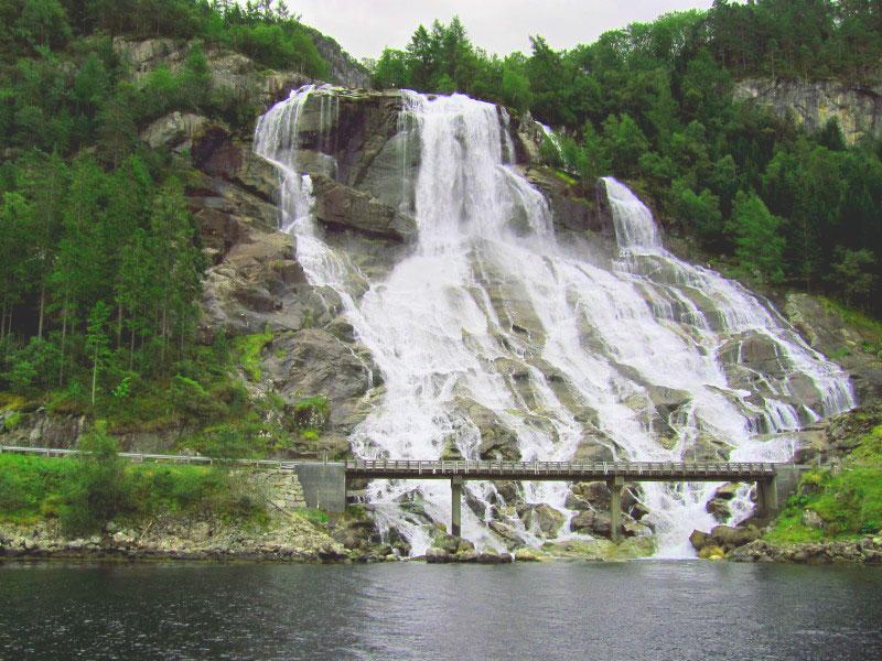 Norwegian Fjords Cruises Furebergfossen Waterfall