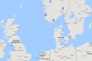 Holland America Line, Viking Sagas cruise from Amsterdam, 20 Aug 2017 route