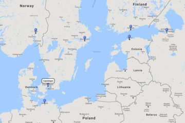 Princess Cruises, Scandinavia & Russia cruise from Copenhagen, 22 May 2017 route