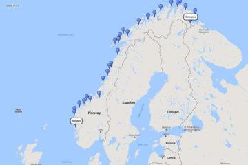 The Classic Hurtigruten Roundtrip Voyage from Bergen, 28 Dec 2017 route