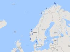 Seabourn, Majestic Fjords & North Cape cruise from Copenhagen, 24 June 2017 route