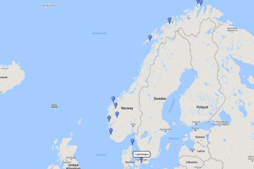 Seabourn, Majestic Fjords & North Cape cruise from Copenhagen, 24 June 2017 route