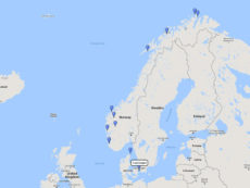 Seabourn, Majestic Fjords & North Cape cruise from Copenhagen, 25 May 2017 route